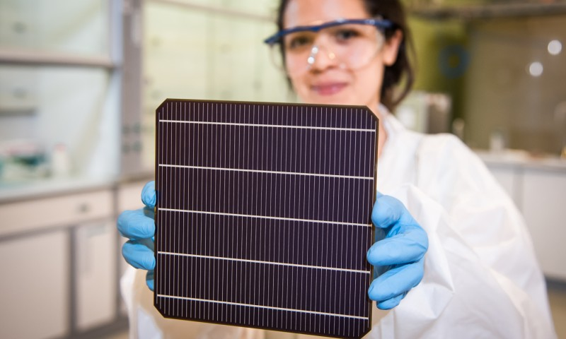 Commercial sized perovskite-on-silicon solar cell at Oxford PV's industrial site in Germany