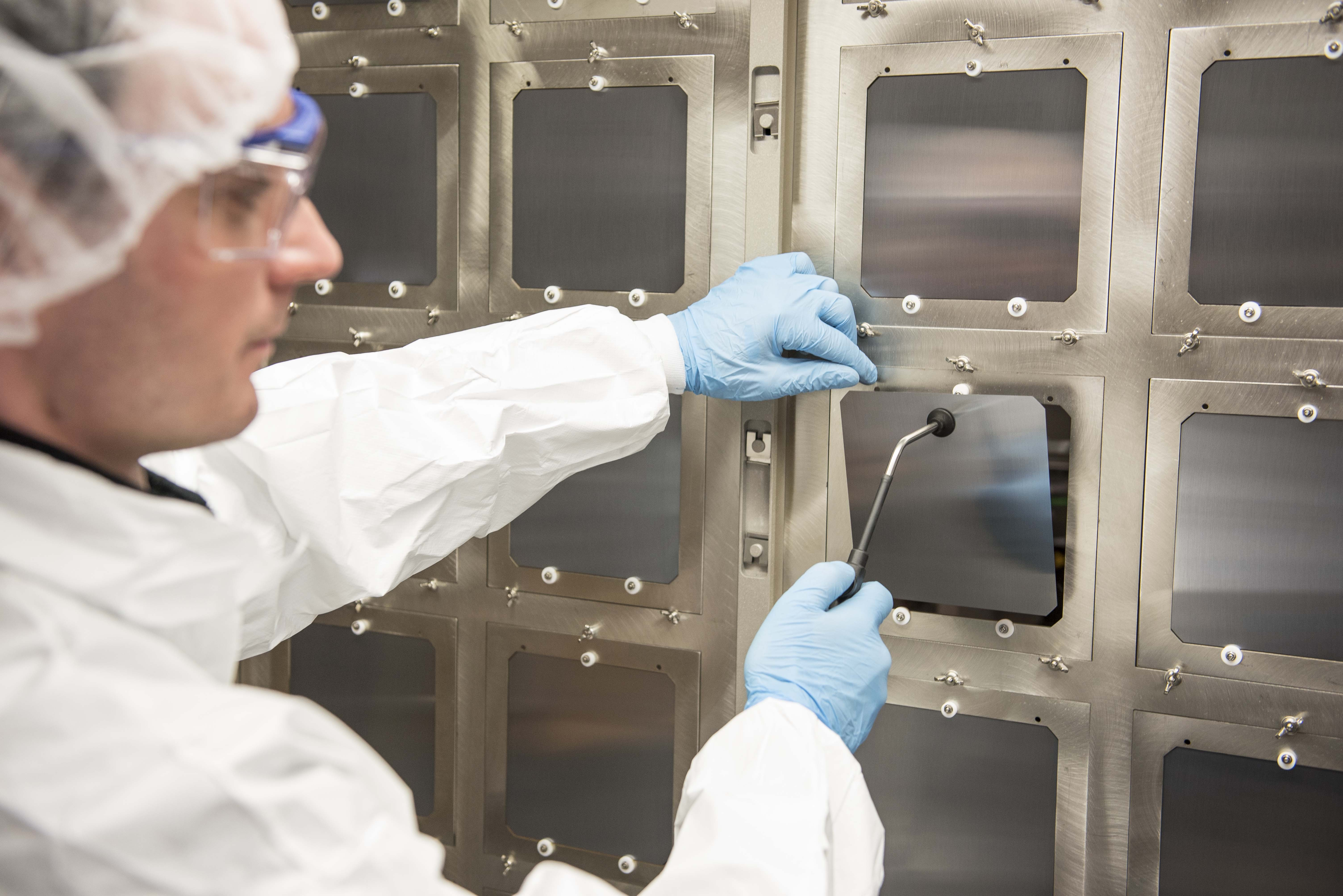Oxford PV perovskite-silicon solar cells at the company's industrial pilot line